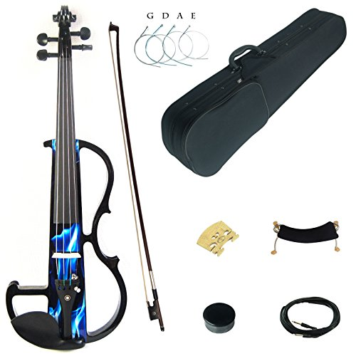 Kinglos 4/4 Blue Fire Colored Solid Wood Intermediate-B Electric/Silent Violin