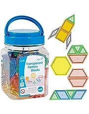 Edx Education Transparent Pattern Blocks - Mini Jar Set of 120 - Plastic Pattern Blocks - Practice Sorting, Patterns, Measurement and Fractions - Sensory Play - Math Manipulative for Kids