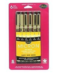 Sakura 30062 6-Piece Pigma Micron Ink Pen Set, Black