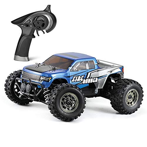 BBM HOBBY Mini RC Cars Fire Runner 1/24 Scale 4WD Off-Road Trucks Radio Control, Electric Power Vehicle 28 KM/H High Speed Monster Truck Waterproof RTR for Kids and Adults, Blue