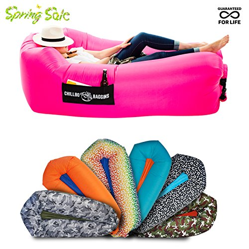 Chillbo Baggins 2.0 Best Inflatable Lounger Hammock Air Sofa and Pool Float Ships Fast! IDEAL SUMMER GIFT Air Lounger for Indoor or Outdoor Use or Inflatable Lounge for Camping Picnics & Festivals - Foam Pool Lounge
