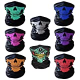 ZXSWEET 8PCS Riding Motorcycle Face Mask Black Skull Bandana Seamless Universal Breathable Tube by