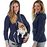 Roodie Pet Pouch Hoodie – Cat Dog Holder Cuddle Sweatshirt – Large Kangaroo Carrier Pocket – No Ears Paws – Womens Fit (Navy, Large)