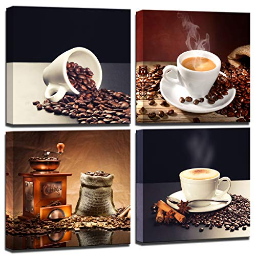Wall Art for Kitchen Coffee Bean Coffee Cup Canvas Prints Wall Art Decor Framed Ready to Hang - 4 Panels Modern Artwork Painting Contemporary Pictures for Dining Home Decoration (Coffee Bean Picture)