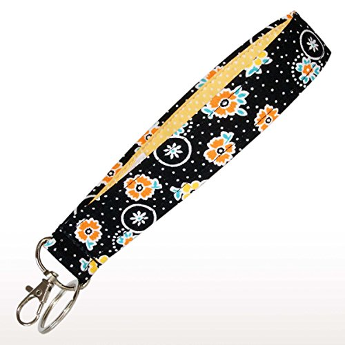 Flower Key Fob - Bright Flowers on Black Key Fob - Wristlet - Flower Keychain - Wrist Lanyard - Purse or Wallet Strap