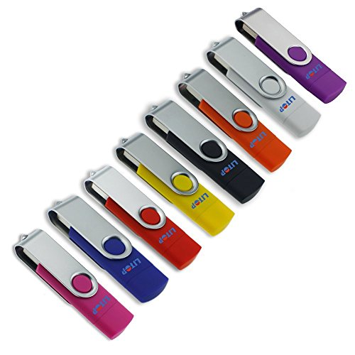 Litop 4GB Pack of 8 Orange+Blue+Yellow+Black+White+Hot Pink+Red+Purple OTG Swivel Double Plugs USB Flash Drive for Android Smart Phone Samsung Galaxy S4 Also MOTO XOOM NOKIA N8 E7 Together Compatible with PC Notebook
