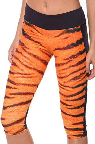 QZUnique Women's Tiger Stripe Cropped Pants Workout Capri Leggings (Tiger Spandex Shorts)