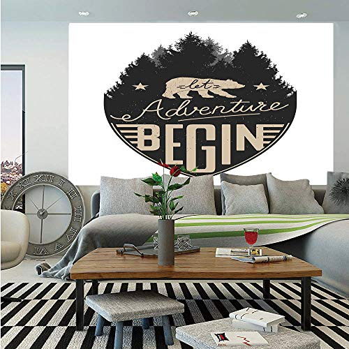 SoSung Cabin Decor Wall Mural,Let Adventure Begin Vintage Letters on Forest Badge Hipster Calligraphy Decorative,Self-Adhesive Large Wallpaper for Home Decor 83x120 inches,Tan Black White