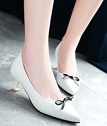 Idifu Womens Sweet Bows Chiuso Scarpe A Punta Bassa Slip On Mid Kitten Tacchi Pumps Shoes White