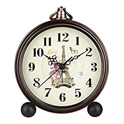 5 Classic Retro Shelf Clock Antique Design European Style Decorative Mantel Clock Mute Silent Quiet Quartz Movement Metal Frame Desk Table Alarm Clock For Bedroom Living Room HA65 Eiffel Tower