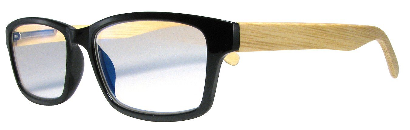 04536622e3d2 Amazon.com: Reading Glasses For Men And Women, Black Frames W/Bamboo Temples  Strength +2.5: Health & Personal Care