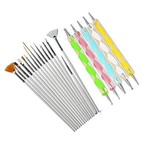 20pcs Nail Art Manicure Dotting Pen Tool Painting Polish Brush Set Dotting Painting Decoration Nail Art Acrylic Nail Brush Gel Polish Caring Tools ()