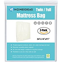 HOMEIDEAS 2-Pack Extra Thick Mattress Bag for Moving and Storage,Fits Twin/Full Size