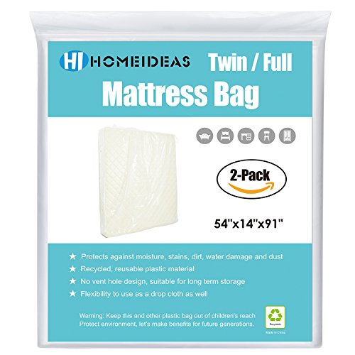 HOMEIDEAS 2-Pack Extra Thick Mattress Bag for Moving and Storage,Fits Twin/Full (Microfiber Sofa Collection)