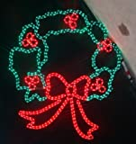 Queens of Christmas LED-CRWR-44 44'' Artificial Christmas Wreath with LED Lights and Hanging Rings, Large