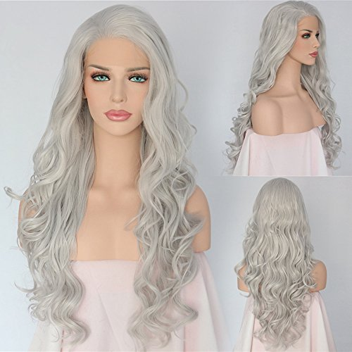 QD-Udreamy High Density Silver Grey Synthetic Lace Front Wigs Wavy Natural Looking Heat Resistant Hair Hand Tied Wigs for Women 24 Inches]()
