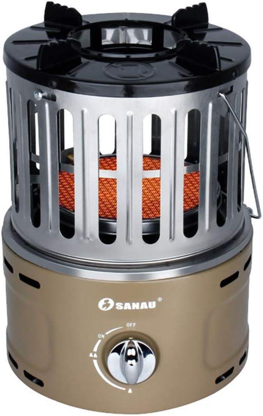 CMXSC 360 Grados Inicio multifunción portátil de Gas del Calentador, Pesca Mini Aire Libre Speed Hot Asar Estufa Ventilador electrico (Color : Beigeliquefied Gas)
