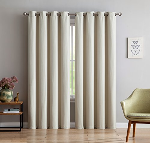 Maya – Premium Textured Thermal Weaved Heavy Duty Blackout Curtain By Linen Source – Energy Efficient – Noise Reduction – Blocks 99.98 of Light & UV Rays (54 x 96, Ivory)