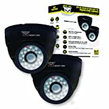 Night Owl Security CAM-2PK-DM624-BA 2PK Hi-Resolution 600 TVL Indoor Security Dome Cameras with 50-Feet of Night Vision and Audio (Black)