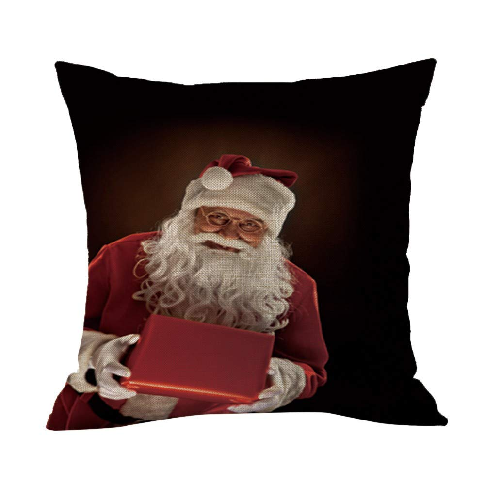 Christmas Printing Dyeing Pgojuni Linen Pillowcase Decoration Accent Throw Pillow Cover Cushion Cover for Couch/Sofa 1pc 45X45 cm (I)