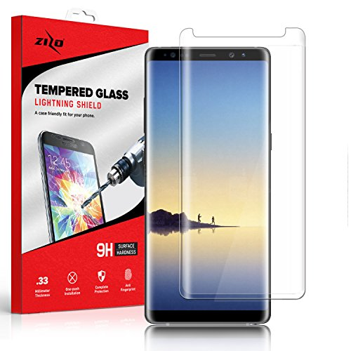 Zizo Glass Compatible with Samsung Galaxy Note 8 Full Edge to Edge Tempered Glass Screen Protector Anti Scratch 9H Hardness Clear