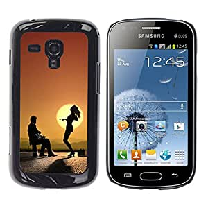 QCASE / Samsung Galaxy S Duos S7562 / la puesta del sol de la música de baile de arte vista de montaña / Delgado Negro Plástico caso cubierta Shell Armor Funda Case Cover