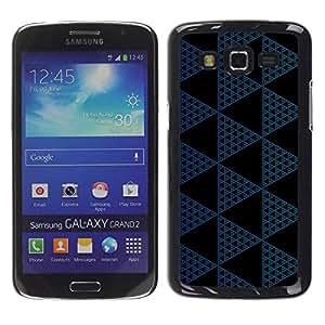 Paccase / SLIM PC / Aliminium Casa Carcasa Funda Case Cover para - Polygon Pattern Black Navy Blue - Samsung Galaxy Grand 2 SM-G7102 SM-G7105