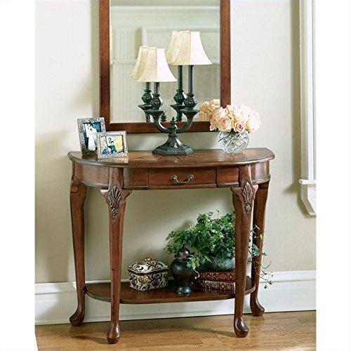 Butler Cherry Hallway Table w Ornamental Fan Wood Inset