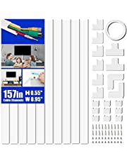 Cable Concealer, 157in Cord Cover Wall, Paintable Cable Cover Raceway, Cord Hider Kit for Hiding Wires in Home and Office, 10X L15.7in X W0.95in X H0.55in, White