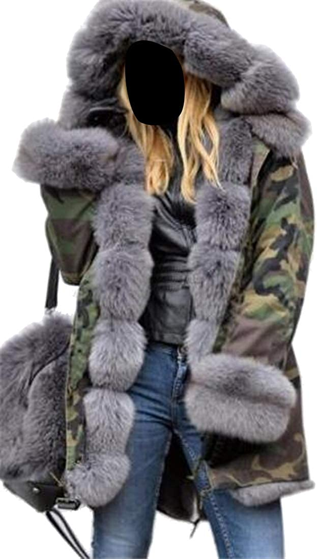 Mstyle Womens Camo Winter Faux Fur Warm Plus Size Hoodie Open Front Quilted Jacket Coat Overcoat