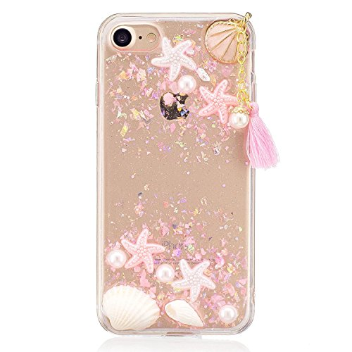 iPhone 7 Plus Glitter 3D Case, iPhone 8 Plus TIPFLY Summer Ocean Theme Cute Seashell Stars Pearls Cover, Slim Thin Transparent Soft Rubber Skin Protective for iPhone 7 Plus/8 Plus -Pink