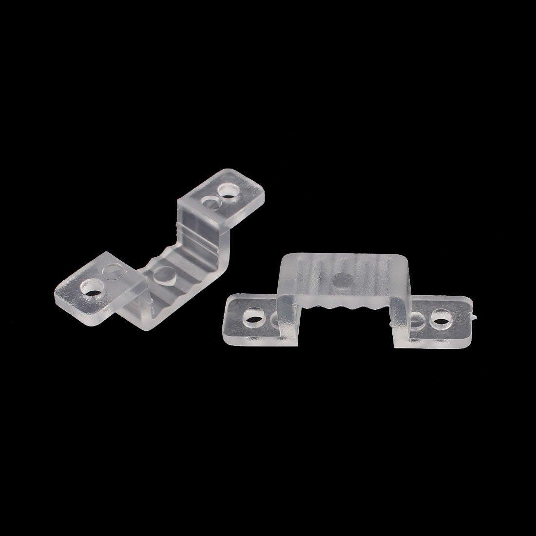 DealMux 15mm x 7mm Soporte de montaje de fijaci/ón de tira de luz LED de pl/ástico transparente 50 piezas