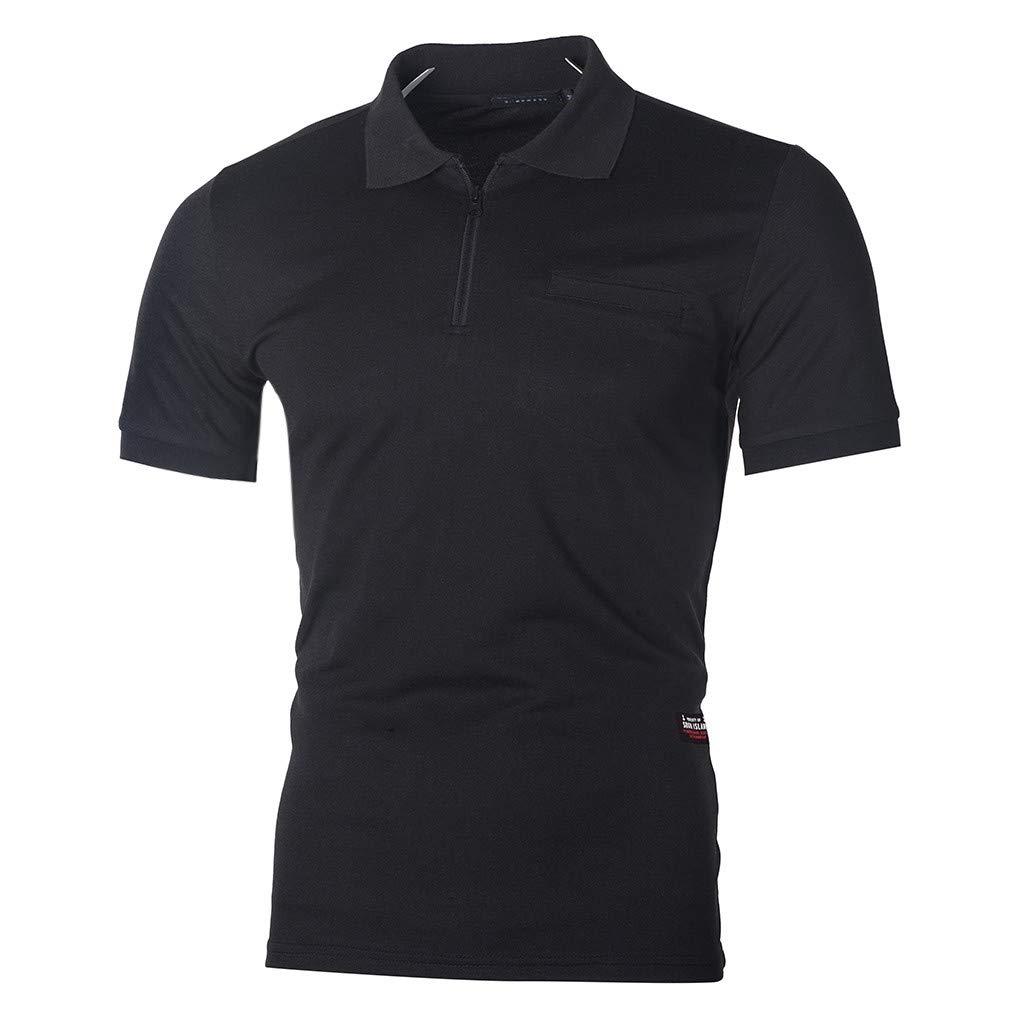 UJUNAOR T Shirt Uomo Manica Corta Polo V Neck Risvolto con Cerniera Slim Tinta Unita S//M//L//XL//XXL//XXXL