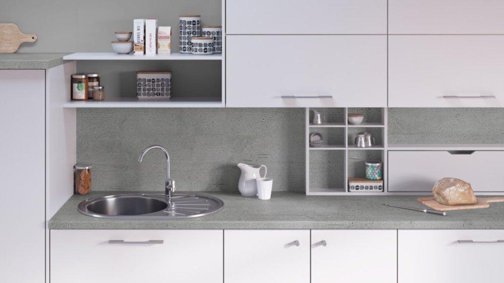 Egger Contemporary Boston Concrete Effect Kitchen Bathroom Laminate Worktop Offcut Work Surface 40mm Breakfast Bar - 1m x 600mm x 38mm Worktop