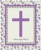 Virah Bella Purple Flower Religious Amazing Grace Cross Quilted Throw Blanket