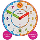 Amonev Time Teacher Scope Magnet Clock, Teach Children to Instantly Read and say The time with This Hand-held Teaching aid