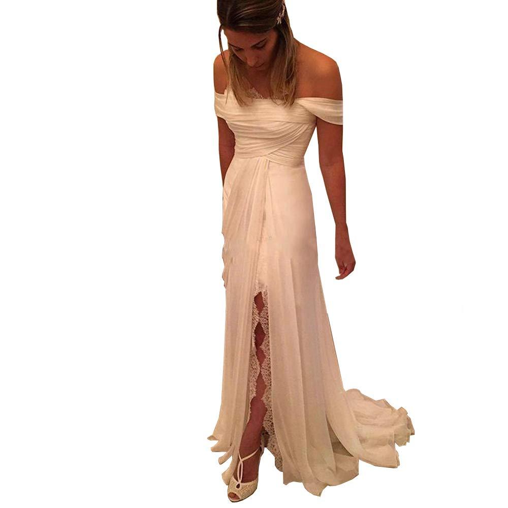 FJMM Off The Shoulder Beach Wedding Dress Pleated Bridal Gown with Split FJMM249
