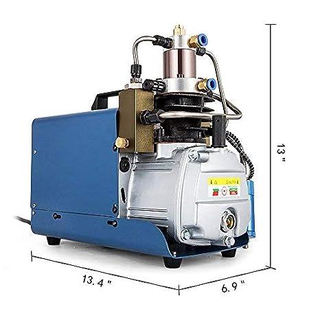 HUKOER Bomba de compresor de aire eléctrica de alta presión (300BAR 30MPA 4500PSI) Control automático, Bomba de aire con Sistema de alta presión Rifle, ...