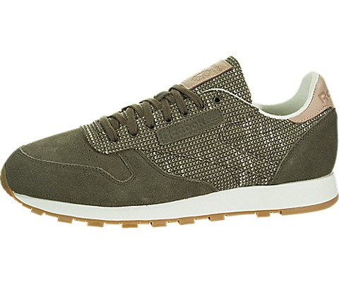- Reebok Men's CL Leather EBK Sneaker, Army Green/Chalk/Sand STO, 9.5 M US