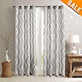 Cheap Light Grey on Flax Moroccan Tile Print Curtains for Bedroom 84 inch Long Quatrefoil Flax Linen Textured Geometry Lattice Window Treatment Set for Living Room 2 Panels