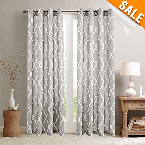 Light Grey on Flax Moroccan Tile Print Curtains for Bedroom 84 inch Long Quatrefoil Flax Linen Textured Geometry Lattice Window Treatment Set for Living Room 2 Panels