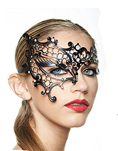 [dipshop Black Phantom Metal Rhinestone Laser Cut Halloween Masquerade Costume] (Medusa Childs Halloween Costume)