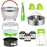 Instant Pot Accessories Set,Pressure Cooker Accessories for 5 qt,6 qt,8 qt,with 2 Steamer Basket, Egg Rack, Non-stick Spring form Pan, Egg Bites Mold, 3 Magnetic Cheat Sheets,Oven Mitts 12-Piece
