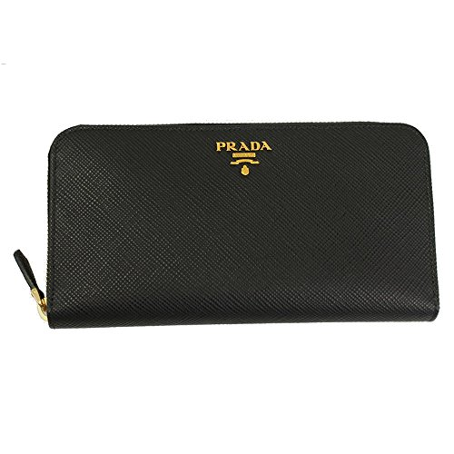 Prada Black Leather Long Wallet 1ML506 Nero Zip Around