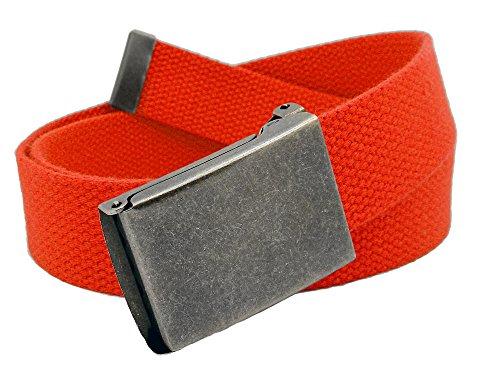 Boys School Uniform Distressed Silver Flip Top Military Belt Buckle with Canvas Web Belt X-Large Red (Canvas Belt Silver Buckle)