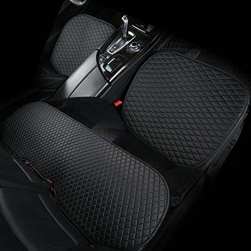 YGGB New Danny Leather Anti-Skid Car Seat Three-Piece Set Without Backrest Four Seasons Universal Seat Cushion Seat Cover Small Three Pieces for Most Cars, All Black (Best Convertible Car Seat For Honda Accord)