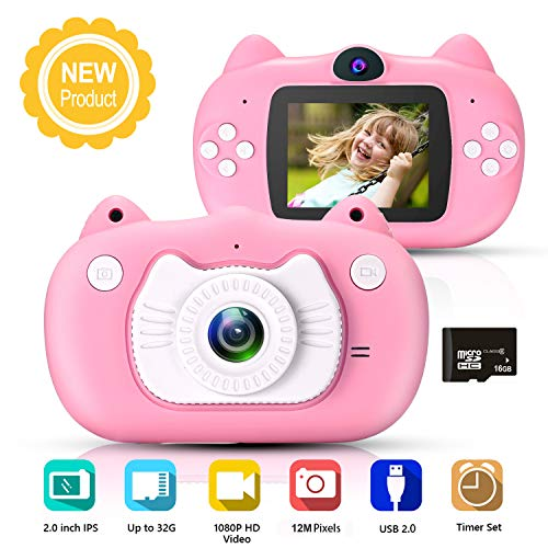 hyleton Kids Digital Camera for Girls Gift, Dual Lens 1080P 12MP FHD Child Toy Camera Camcorder with Zoom Function &16GB SD Card for Age 3-10