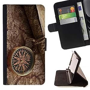 For Samsung Galaxy Note 4 IV Case , retro brújula mapa oboi- la tarjeta de Crédito Slots PU Funda de cuero Monedero caso cubierta de piel