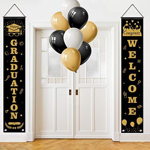 TUPARKA Graduation Banner Decoration Set, Graduation Porch Sign Congrats Banner with 15 Pcs Party Balloons for Outdoor Indoor Graduation Decorations 2019, Grad Party Supplies 2019 (Black, Gold)