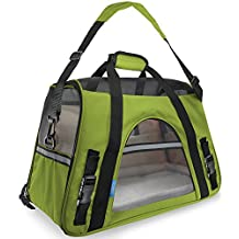 OxGord Airline Approved Pet Carriers w/ Fleece Bed For Dog & Cat - Large, Soft Sided Kennel - 2016 Newly Designed Model, Spinach Green